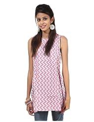 Rajrang Cotton Red, Sky Blue Screen Printed Tunic Top - B00AXXYCA8