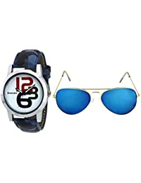 DANZEN White Dial Analog Casual Men's Watch & Aviator Sunglasses Combo - DZ-415-SG-001
