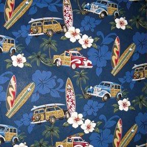 Amazon.com: Hawaiian Fabric - Surfboard and Woody Car Print