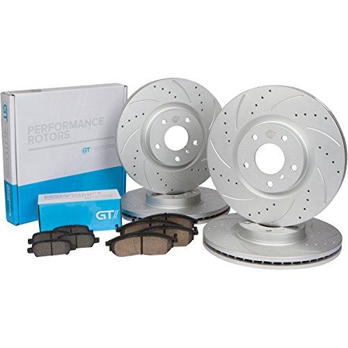 [Front & Rear Kit] GT//Rotors Performance Brake Disc Rotors & Ceramic Pads for Nissan 350z 370z 2006-2012 G35 2006-2008 G37 2009 – 2013