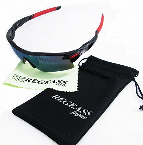 RE-PW UV400スポーツサングラス/紫外線対策/防弾/フック付収納バック/ロゴ入りウェス/ロゴ入り布ポーチ付き4点セット(黒/赤ミラーレンズ)
