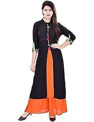 Khushfashions Women's Black & Orange Color Printed Kurti & Plazoo