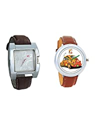 Gledati Men's White Dial & Foster's Women's White Dial Analog Watch Combo_ADCOMB0002268