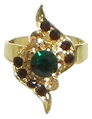 Maroon And Green Stone Studded Adjustable Ring - Stone And Metal