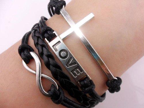 Vintage Silver Cross Bracelet Infinity Love Black Leather Rope Infinite Bangle
