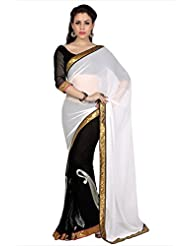Designersareez Women Off White & Black Faux Georgette Saree With Unstitched Blouse (1690)