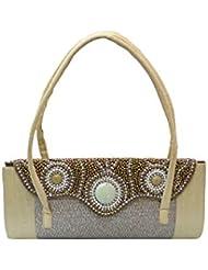 REE DIVA Gold Elegant Handbag With Curvy Beaded Flap