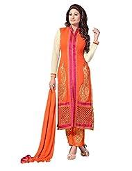Trendz Apparels Orange 60 Gm Georgette Straight Cut Salwar Suit