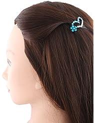 Anuradha Art Blue Colour Heart Shape Stylish Hair Accessories Hair Cilp For Women/Girls
