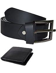 Kesari's Black Genuine Leather Combo Of Belt & Wallet For Men