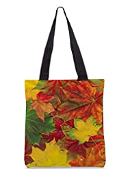 Snoogg Beautiful Autumn Maple Leaves Background Designer Poly Canvas Tote Bag