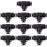 Banggood 10pcs Tube 8mm X 6mm 1/4 Pneumatic Tee Union Air Fittings Quick Release