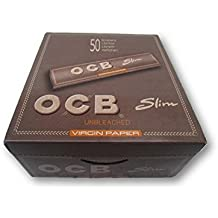 OCB Brown Unbleached Kingsize Slim Rolling Papers 50 Packs A Box