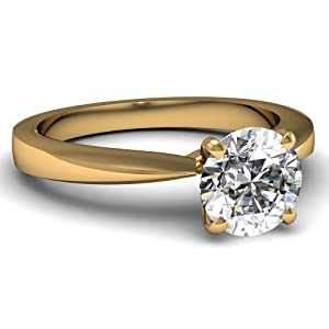 Fascinating Diamonds Tapered Solitaire Engagement Ring 0.65 Ct Round Ideal Cut Diamond VS2-H 14K GIA