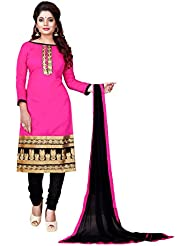 Vooga Indian Style Women's Pink Chanderi Unstitched Embroidered Salwar Suit Dress Material(Pevg17_Pink_FREE_SIZE)