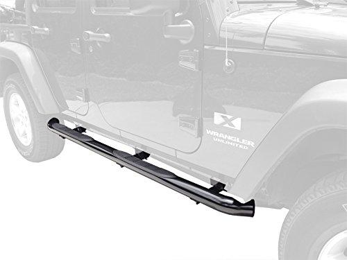 TYGER Custom Fit 2007-2015 Jeep Wrangler JK 4 Door 3″ Black Side Armor Step Nerf Bars Running Boards (Fit 4-Dr Only)