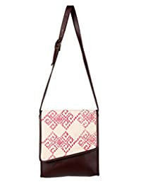 Lovable Cotton Argyle Sling Bag Off-White Printed For Ladies By Rajrang