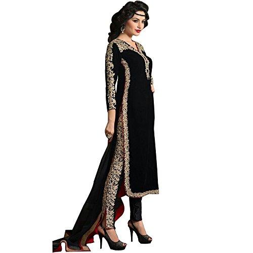 c12302612a2c Ap Enterprises Black Velvet Embroidred Salwar Suit For Women   Girls Party  Wear Stitched For Girls