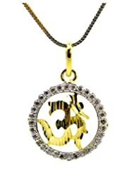'AUM' C.Z. Gold Plated Pendant With Chain By BeYou