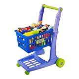 "23"" Deluxe Mini Shopping Cart With Grocery Food Toy Playset For Kids (76 Pcs)"