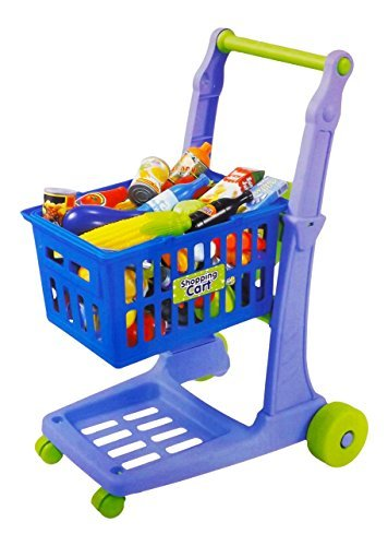"""23"""" Deluxe Mini Shopping Cart With Grocery Food Toy Playset For Kids (76 Pcs)"""