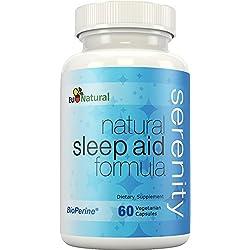 Serenity Natural Sleep Aid, 60 Vegetarian Capsules (Extra Strength Formula & Non-Habit Forming with Melatonin, Valerian, Chamomile, Passion Flower)