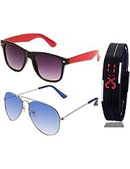 BLACK RED WAYFARER SUNGLASSES AND SILVER LIGHT BLUE AVIATOR SUNGLASSES WITH TPU BAND RED LED DIGITAL BLACK DIAL...