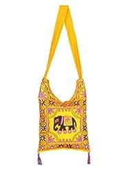 Rajrang Beautiful Womens Elephant Printed Cotton Embroidered Work Yellow Sling Bag