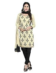 Desi Look Women' Off White Chanderi Dress Material With Dupatta
