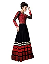 Lookslady Embroidered Black Pure Georgette Thread & Stone Work Semi Stitched Anarkali Suit