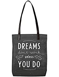 Snoogg Dreams Do Not Work Until You Do Womens Digitally Printed Utility Tote Bag Handbag Made Of Poly Canvas With...