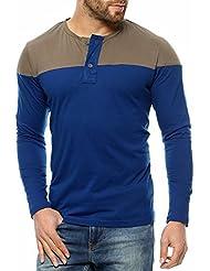 Gritstones Indigo/Sgrey Full Sleeve Round Neck T-Shirt