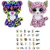 Bundle Set Of 2 Medium (9 In) Plush Toys Leopard And Pink Cat With One Bonus Animal Eraser