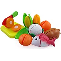 Happy Cooking Cutting Vegetables, Fish & Chicken Play Food Playset For Kids With Cutting Board Set