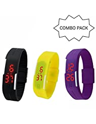 GT Gala Time Casual LED Combo Of 3 Digital Bracelet Jelly Slim Smart Unisex Black, Yellow & Purple Watches