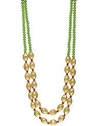 Sparkle Creation Gold Plated Beads And Faceted Green Stones Multi-Strand Necklace For Women