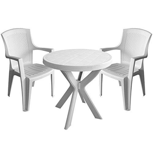 3tlg Gartengarnitur Tisch Ø70cm 2x Stapelstuhl