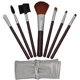 Jovana 7pcs Brown Professional Cosmetic Makeup Make Up Brush Brushes Set Kit With Silver Bag Case