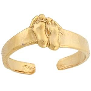 Amazon.com: 14k Yellow Real Gold Footprint Designer Womens