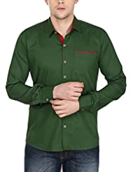 Stylox Men's Olive Green Cotton Shirt Olive Green