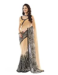 Nanda Silk Mills Exclusive Saree Pure Georgeette Tiger Print With Lace Blouse-Silk Crape Jacquerd Party Wear Sari