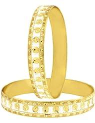 The Jewelbox Wedding Traditional 22k Gold Plated Rhodium Metal Chuda Kada Bangle Set Of 2 For Women