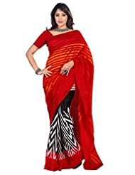 101cart Elegant Black,Red Printed Art Silk Saree