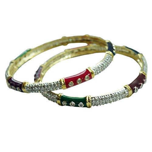 Sheetal Jewellery Silver & Golden Brass & Alloy Bangle Set For Women - B00TIH2XYC