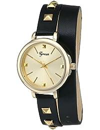 Geneva Women's 2401C-GEN Gold-Tone Watch With Black Wraparound Faux-Leather Strap