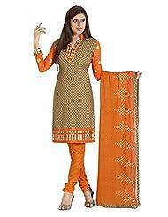 Inddus Women Brown & Orange Cotton Unstitched Dress Material