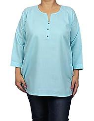 Indian Kurti Tunic For Women, Blue, Size Xl - Luxurious Kurtis - Cotton & Viscose Tops For Women