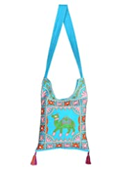 Rajrang Bags For College Girls Camel Printed Cotton Embroidered Work Turquoise Sling Bag