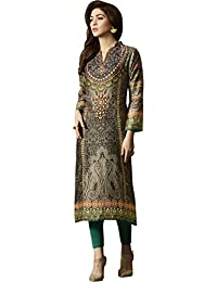 SHELINA Women Beige Cotton Satin Digital Printed Partywear Kurti In XL