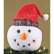 Twas the Night Glittered Snowman Head w/ Red Hat Christmas Tree Topper - Unlit